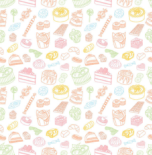 Confectionery Seamless Doodles vector art illustration