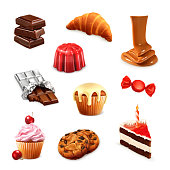 Confectionery, vector set isolated on white background
