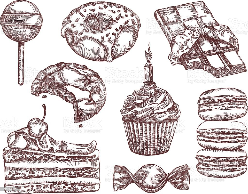 Confectionery, sketches, hand drawing vector art illustration