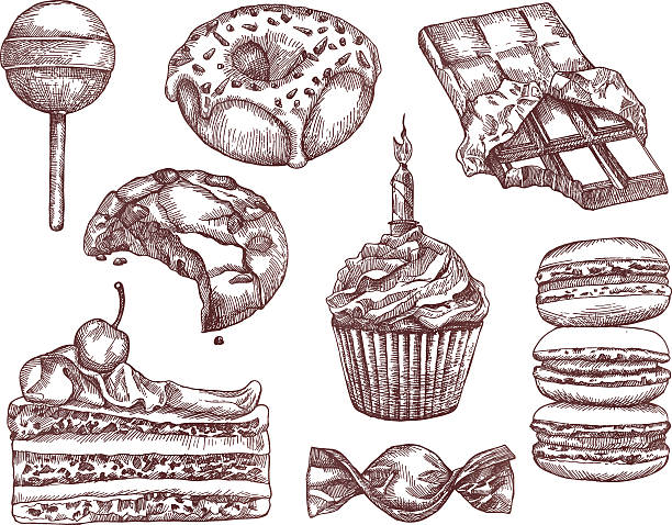 Confectionery, sketches, hand drawing Confectionery, sketches, hand drawing, vector set candy drawings stock illustrations