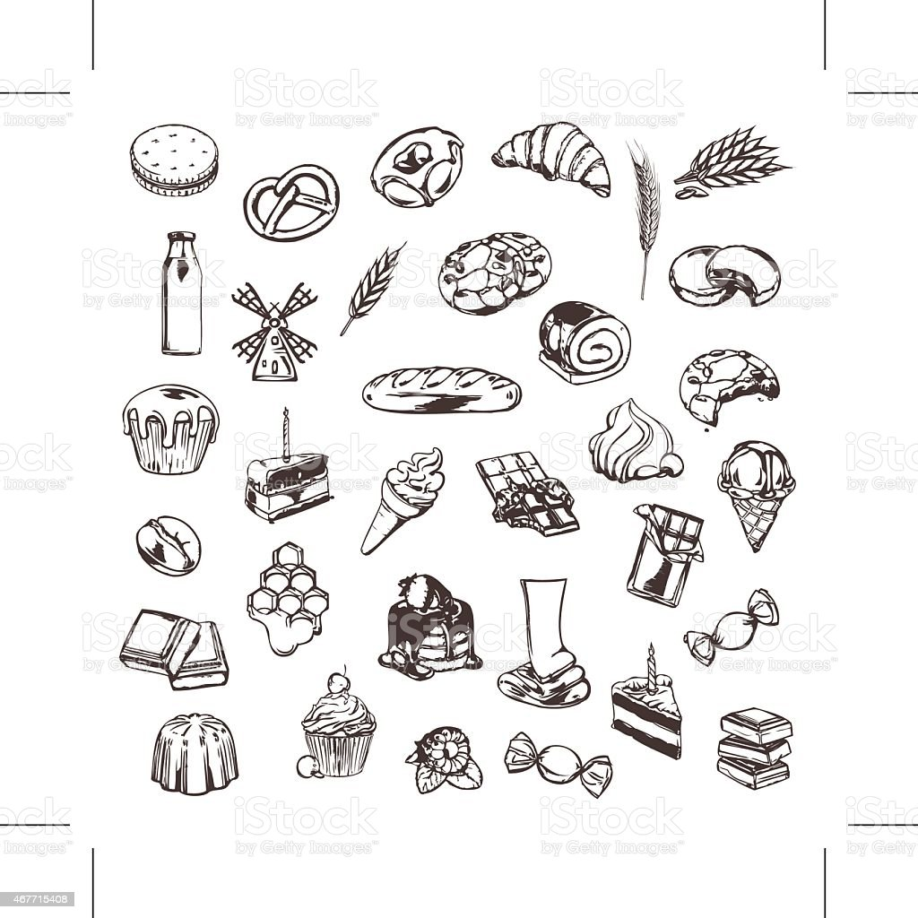 Confectionery, sketches of icons vector set vector art illustration