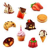 Confectionery, vector illustration set