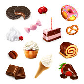 Confectionery, vector set on white