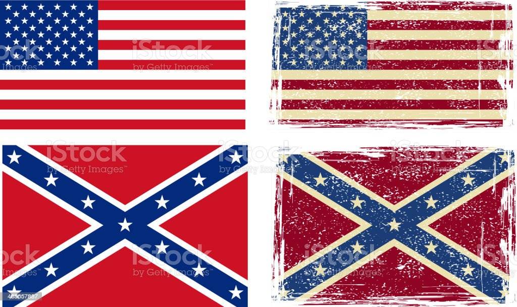 confederate and american flags stock vector art more images of