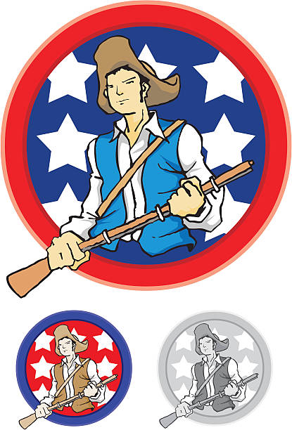 confederate soldier for independence day - byteandpixel stock illustrations