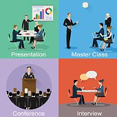 Conference banner set with business concept