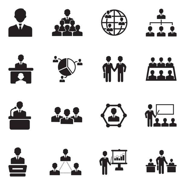 ilustrações, clipart, desenhos animados e ícones de conferência, negócios e gestão de ícones. projeto liso preto. ilustração em vetor. - ceo
