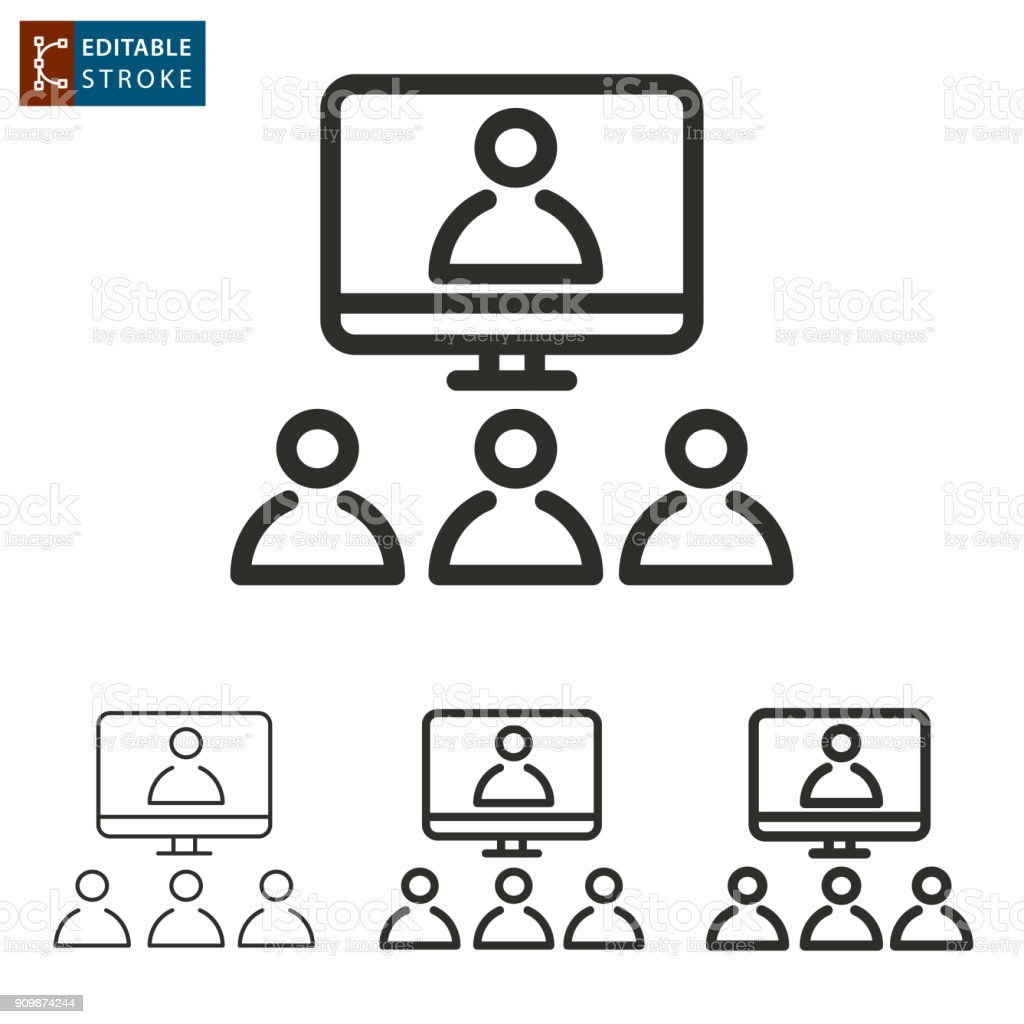 Conference Call Outline Vector Icon Editable Stroke Stock Illustration -  Download Image Now