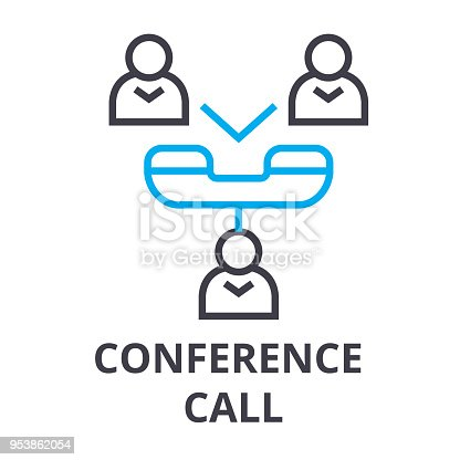 Conference Call Thin Line Icon Sign Symbol Illustation