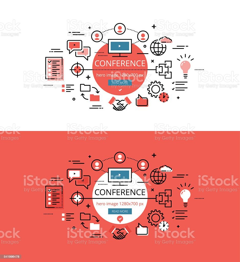 Conference. Flat line color hero images and hero banners design concept vector art illustration