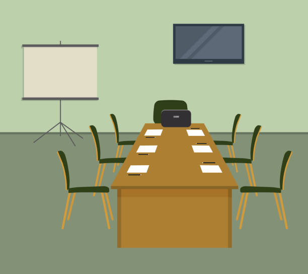 Conference hall in green color. The office room is prepared for the meeting vector art illustration