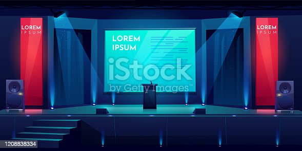 istock Conference hall, stage for presentation, scene 1208838334