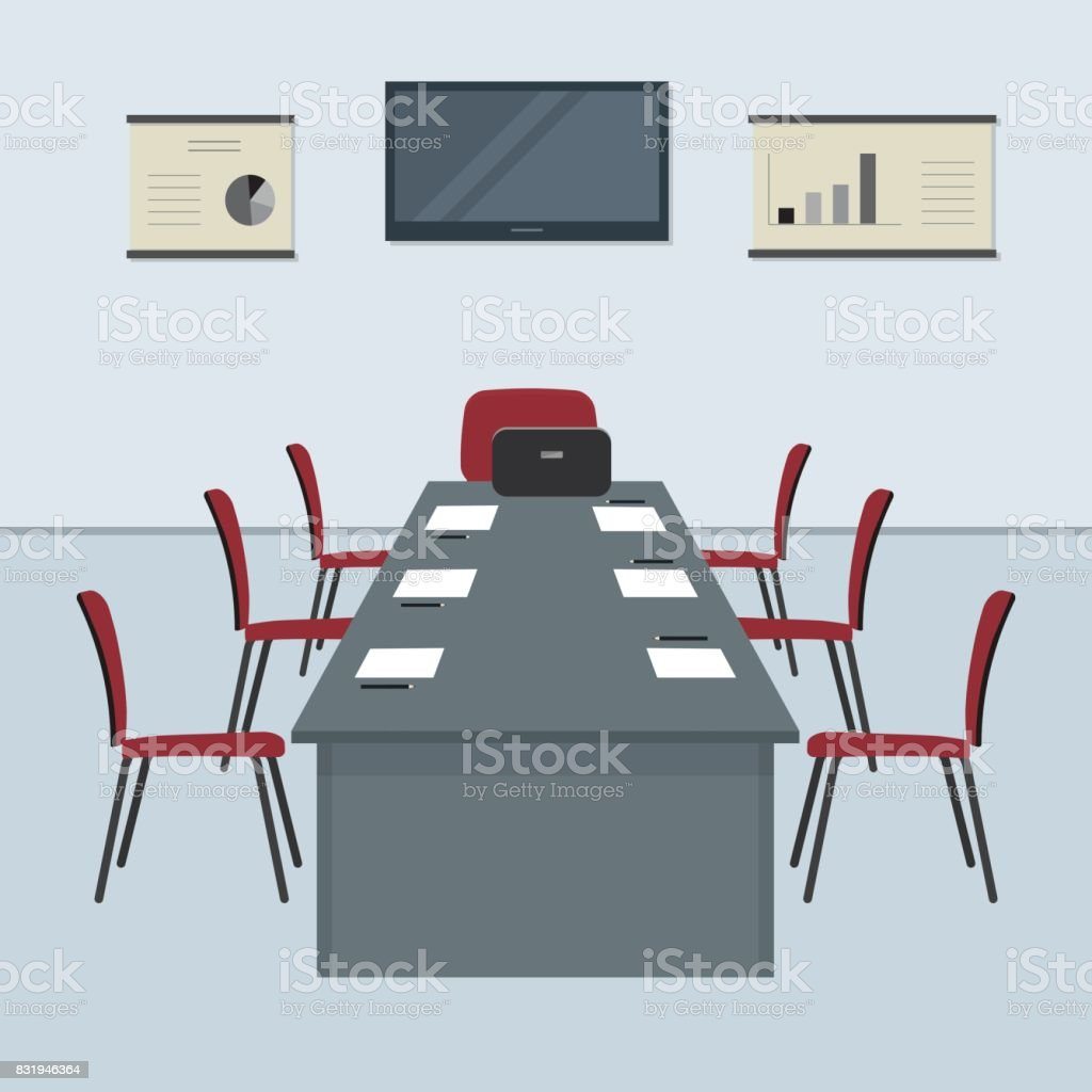 Conference hall. The office room is prepared for the meeting vector art illustration