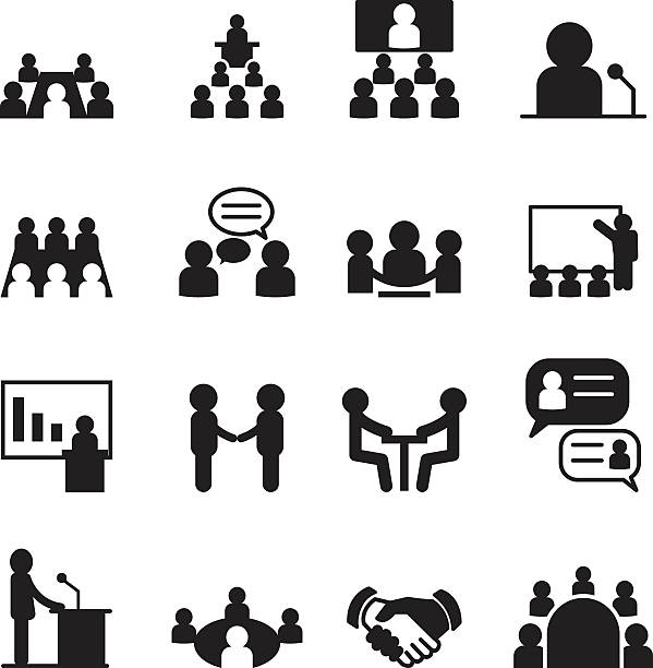 conference icon set - language class stock illustrations, clip art, cartoons, & icons