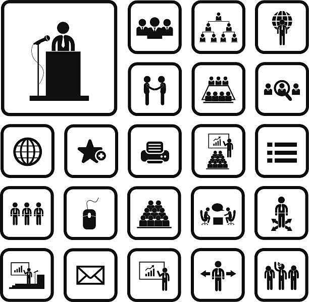 conference icon set Business management and conference icon set one man only stock illustrations