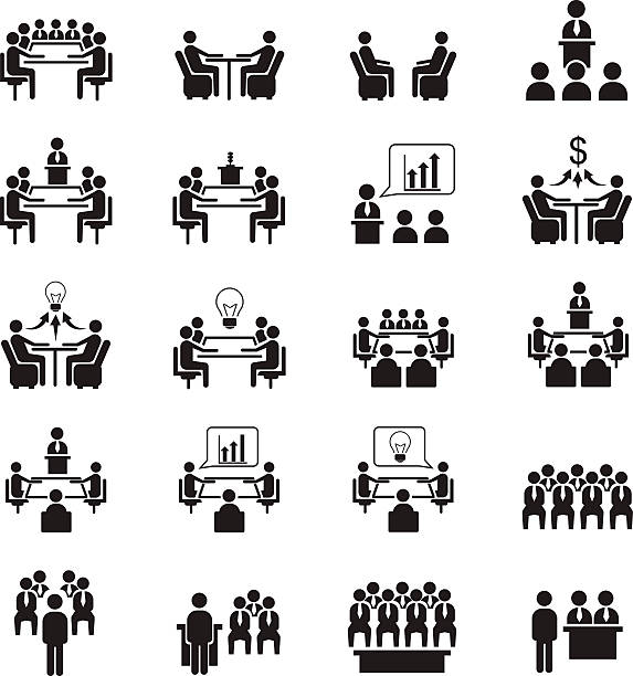 Conference icons vector art illustration