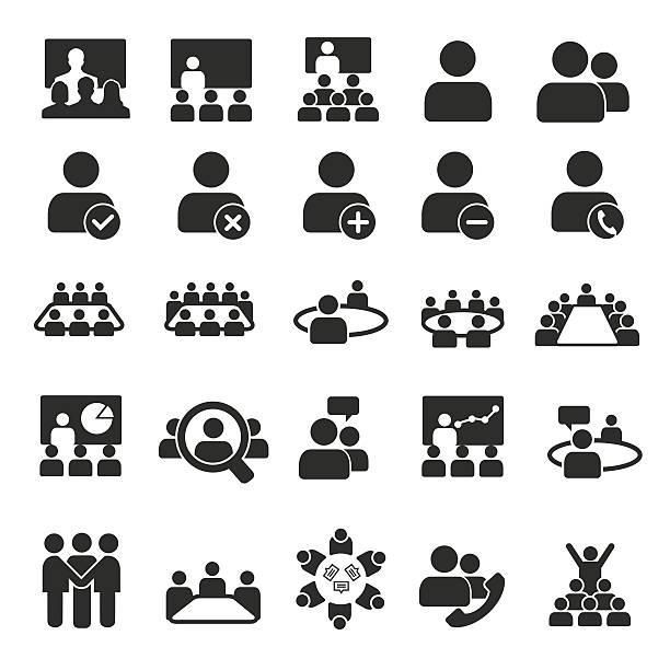 konferenz-symbole - meeting stock-grafiken, -clipart, -cartoons und -symbole