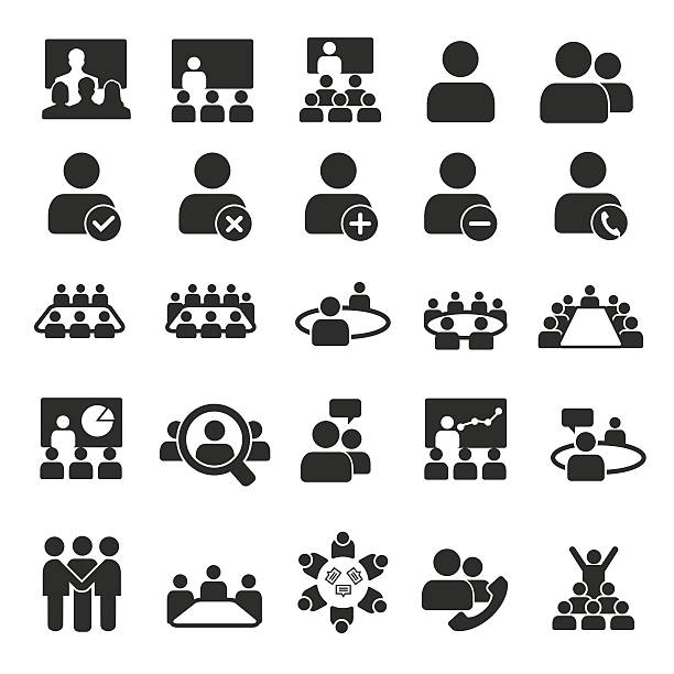 Conference icons Conference icons meeting stock illustrations