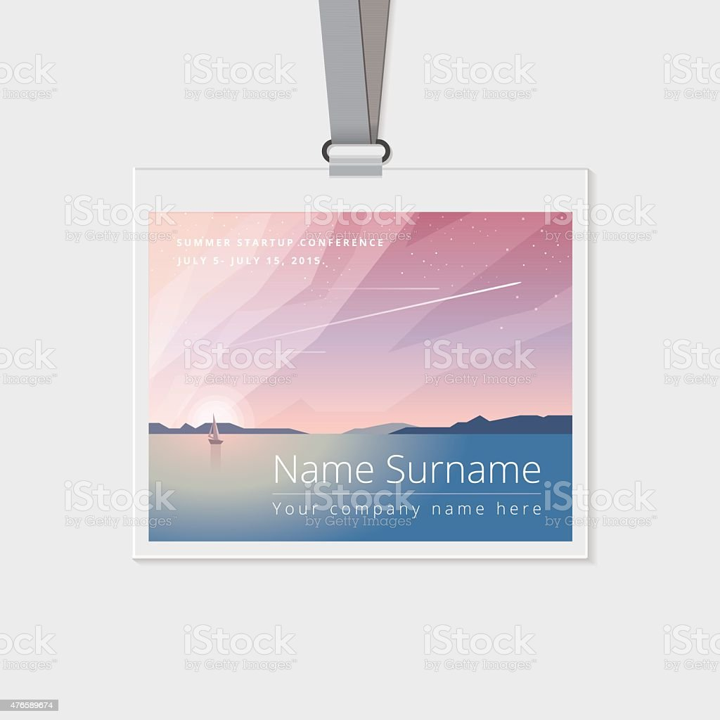 Conference name tag mockup template with summer theme vector illustration vector art illustration