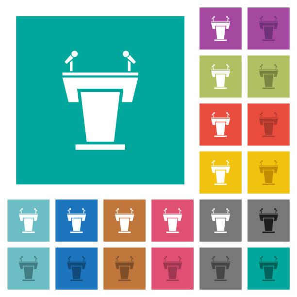 Konferenz-Podium mit Mikrofonen quadratische flache mehrfarbige Ikonen – Vektorgrafik