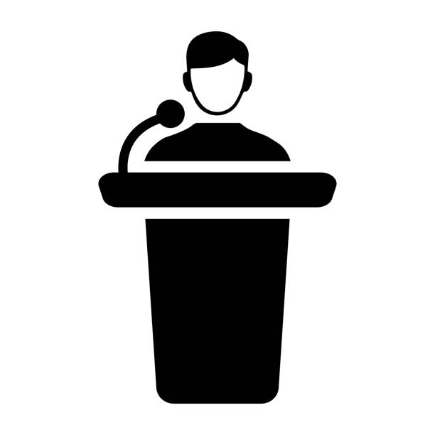 Conference presentation black icon, presenter, speaker Beautiful, meticulously designed of Conference presentation icon, presenter, speaker. publicity event stock illustrations