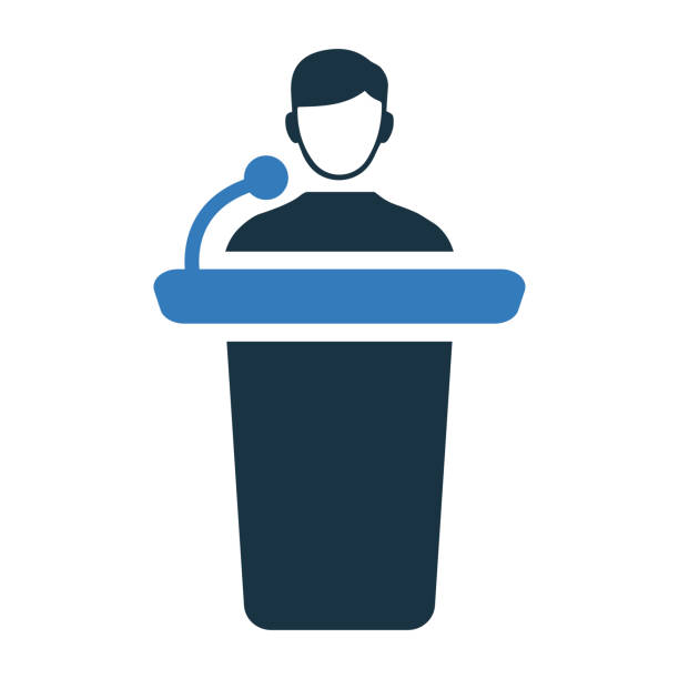 Conference presentation icon, presenter, speaker Beautiful, meticulously designed of Conference presentation icon, presenter, speaker. publicity event stock illustrations