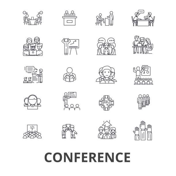 konferenz, präsentation, besprechung, business diskussion, teamarbeit, management linie symbole. editierbare striche. flaches design vektor illustration symbol konzept. lineare isolierte zeichen - oberhaus stock-grafiken, -clipart, -cartoons und -symbole