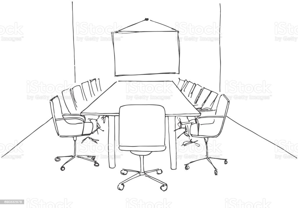 office chair drawing. conference room in a sketch style. hand drawn office desk, chair. vector chair drawing