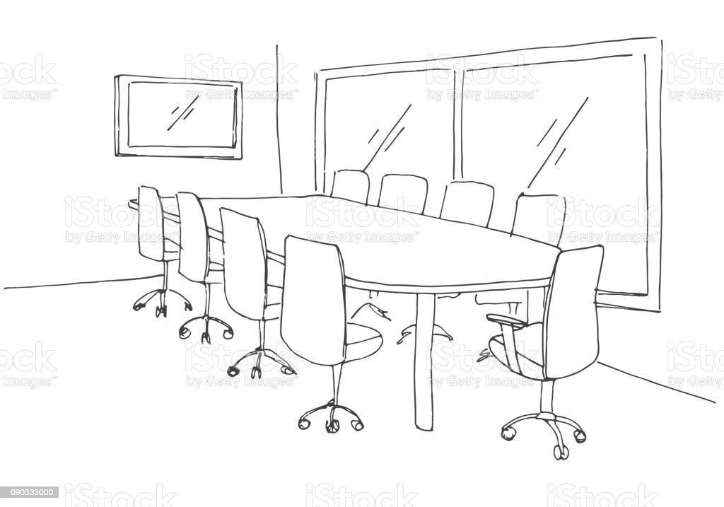 Conference Room In A Sketch Style Hand Drawn Office Desk