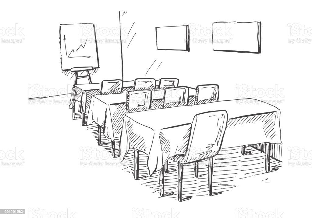 Bürostuhl skizze  Konferenzraum In Einer Skizzestil Hand Gezeichnet Schreibtisch ...