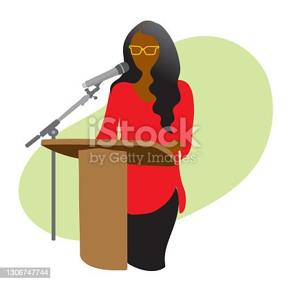 istock Conference Speaker With Mic Green 1306747744