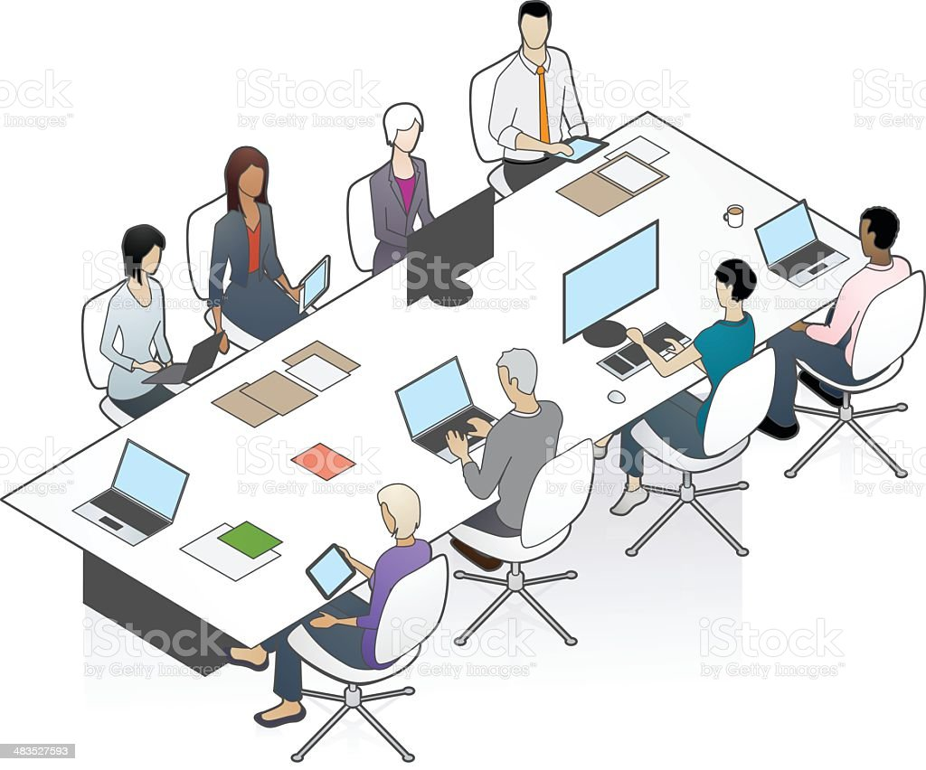 Conference Table Illustration royalty-free stock vector art