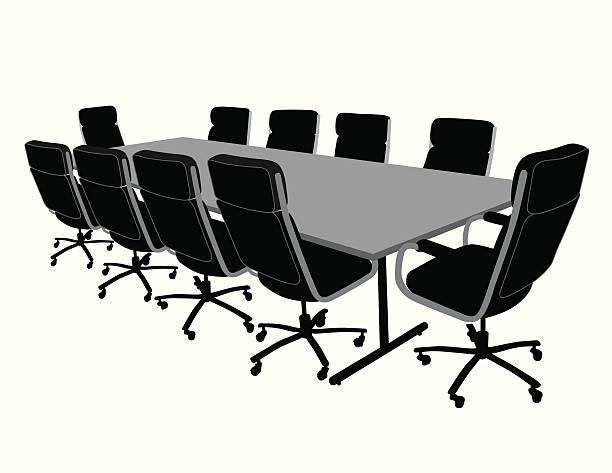 Conference Table Vector Silhouette vector art illustration