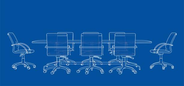 Conference table with chairs in sketch style vector art illustration
