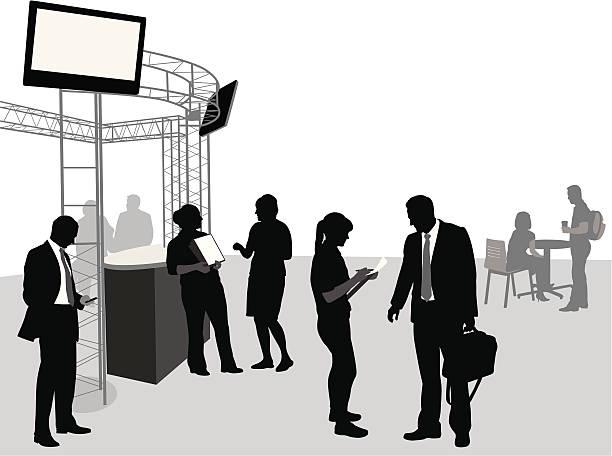 konferenz - ausstellungstische stock-grafiken, -clipart, -cartoons und -symbole