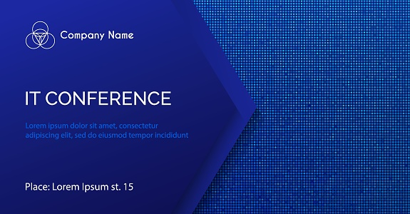 Conference vector template. Abstract dotted blue background for IT conference invitation, business meeting