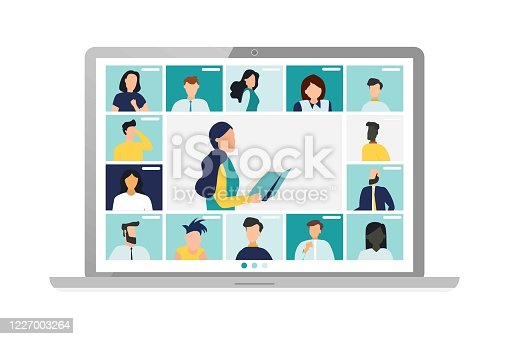 istock Conference video call, remote project management, quarantine, chat with friends. Vector illustration in a modern style. 1227003264