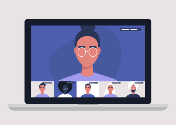 illustrazioni stock, clip art, cartoni animati e icone di tendenza di videoconferenza per conferenze, gestione remota dei progetti, quarantena, lavoro da casa - ritratto in ufficio