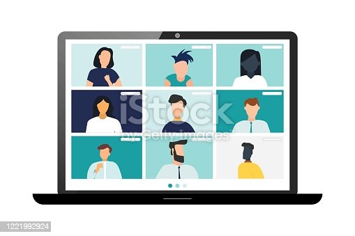 istock Conference video call, remote project management, quarantine, working from home 1221992924