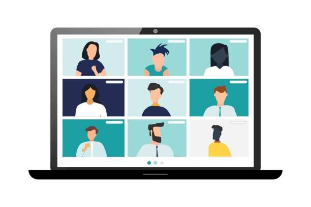 konferenzvideoanruf, remote-projektmanagement, quarantäne, arbeiten von zu hause aus - videokonferenz stock-grafiken, -clipart, -cartoons und -symbole