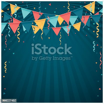 A party background with flag line and confetti. File is in 4 layers (confetti, flag, confetti2 and background) for easy editing.