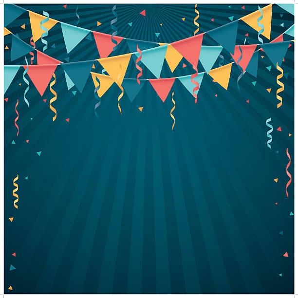 ilustraciones, imágenes clip art, dibujos animados e iconos de stock de confeti y línea de bandera - fiesta