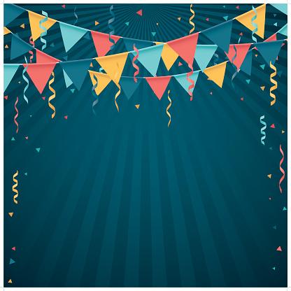 Confetti And Flag Line - Arte vetorial de stock e mais imagens de Amarelo