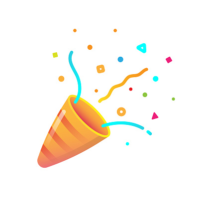 Confetti and Party Popper Icon Flat Design on White Background.