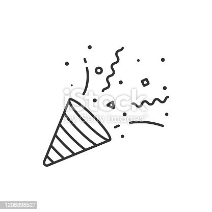 istock Confetti and Party Popper Icon Outline Vector Design on White Background. 1208398527