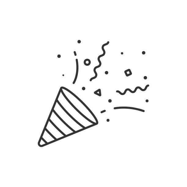 konfetti und party popper icon umriss vektor design auf weißem hintergrund. - party stock-grafiken, -clipart, -cartoons und -symbole