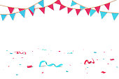 Confetti and ribbons fall on the floor, celebration party seasonal holiday background vector