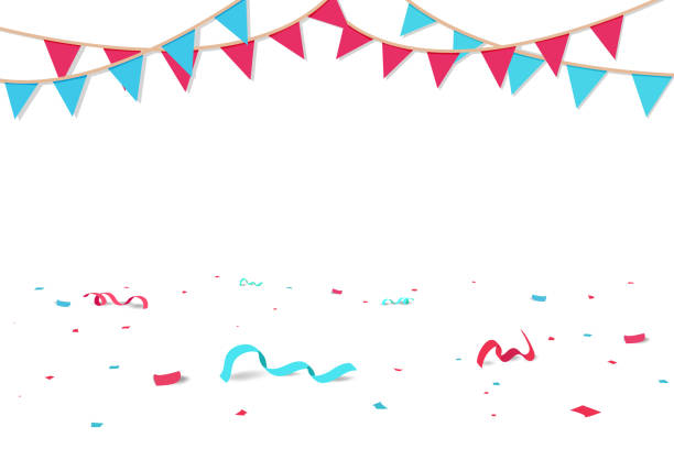 Confetti and ribbons fall on the floor, celebration party seasonal holiday background vector Confetti and ribbons fall on the floor, celebration party seasonal holiday background vector political party stock illustrations