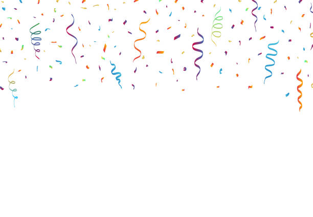 Confetti And Ribbons on white background. Vector Colorful Confetti And Ribbons isolated on white background, Party celebration. Vector Festive Illustration of Falling Shiny Glitters party conference stock illustrations