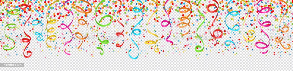 confetti and streamers colorful seamless pattern